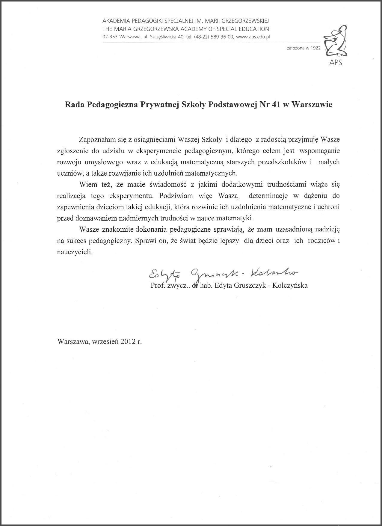 Innowacja matematyczna prof Gruszczyk-Kolczyńska